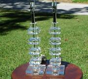 Fabulous Mid Century Pair Of Crystal Stack Lamps In Excellent Condition