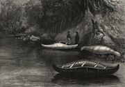 Fishing On The Ristigouche, In Canada, By Princess Louise 2, Old Print, 1880