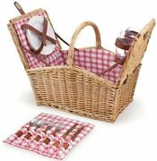 New Picnic Time Piccadilly Dual Lid Picnic Basket With Service For Two