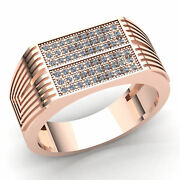 Genuine 3ct Round Cut Diamond Mens Pinky Pave Engagement Ring 14k Gold