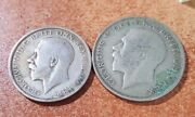 2 Uk Silver Coins 1/2 Crown 1920 Florin