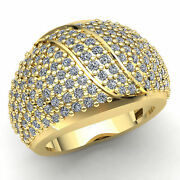 Real 2carat Round Cut Diamond Menand039s Cluster Dome Wedding Band 14k Gold