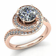 3ct Round Cut Diamond Ladies Twisted Halo Solitaire Engagement Ring 10k Gold