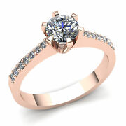 Natural 2ct Round Cut Diamond Ladies 6prong Solitaire Engagement Ring 14k Gold