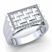 Natural 2ct Round Cut Diamond Mens Woven Modern Engagement Ring 14k Gold