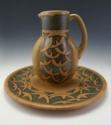 HB QUIMPER ODETTA ANTIQUE FRENCH ART DECO POTTERY PITCHER & CHARGER