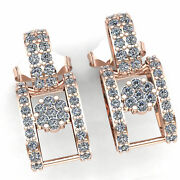 Natural 1.5ctw Round Cut Diamond Ladies Casual Square Fashion Earrings 14k Gold