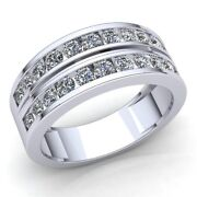 Natural 2carat Round Cut Diamond Menand039s Double Row Wedding Band 18k Gold