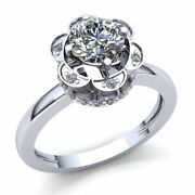 Real 1.5carat Round Cut Diamond Ladies Halo Solitaire Engagement Ring 18k Gold