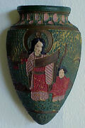 Vintage Antique Art Deco Mother Child Tokanabe Pottery made In Japan Wall Pocket