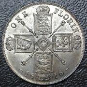 1916 Great Britain - One Florin -.925 Silver -george V -wwi Era - Gorgeous Coin