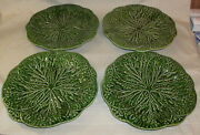 "(4) Vintage Green Cabbage Majolica Dinner Plates 12"" EUC"