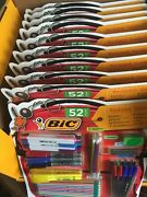10x Bic 52 Count Backpack Supplies - Pencils Pens Markers Highlighters
