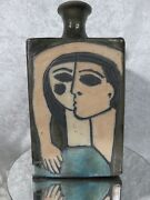 Vintage Signed Abstract Couple Portrait Pottery Art Vase 11.5 - Signed