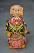 Vintage Wind Up C.k Trademark Dog Playing Drum Litho And Celluloid Toy, Japan