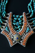 Vintage Tibetan Necklace - Large Himalayan Tribal Jewelry Handcrafted In Nepal