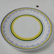 "William Sonoma 14"" ROUND SERVING PLATTER Large Plate Italy Yellow Blue White EVC"