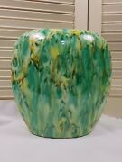 vintage mid century modern ceramic pottery vase one of a kind green gold yellow