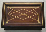 Rare Vintage Handcrafted Moroccan Bone Inlaid Wood Jewelry Box Storage Chest