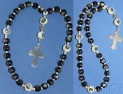 Anglican Rosary Ebony And Troca Shell Beads Inlaid W Paua And Sterling Cross Rrr