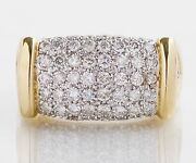 Large 14k Solid Gold Diamond Pave Ring.