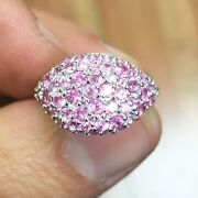 14k White Gold Round Cut Pink Sapphire Ring Eternity Style Pave Pinky 2.00ctw