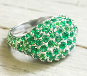 14k White Gold Round Cut Emerald Ring Eternity Style Pave Pinky Annivesary 2.00c
