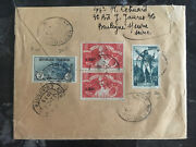1936 France Airmail Cover To Usa B10 Pair B42