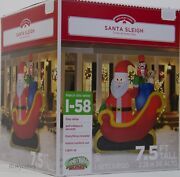 Christmas Gemmy 7.5 Ft Lights Up Santa Sleigh W/gifts Airblown Inflatable Nib