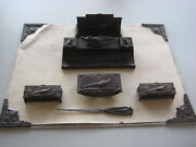 Antique Jb Usa Bronze Metal Pheasant Desk Art Inkwell Set Blotter Pen Tray Stamp