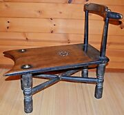 Antique Senufo Tribe African Carved Wooden Stool Chair Bench Ivory Coast Africa