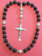 Anglican Episcopal Rosary Studded Jet And Sterling Silver Beads And Cross