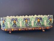 Antique Majolica French T.S. France Thomas Sargent Footed Oblong Bowl