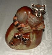 Rick Wisecarver Art Pottery Raccoon Cookie Jar, Fully signed & Dated, Mint