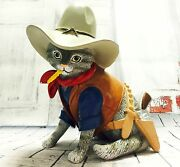 One Bad Out Claw Cat Figurine Sours In Fur Kitty Cowboy Bradford Exchange