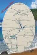 Pelicans Static Cling Window Decal Oval 15x23 Decor For Glass Shower Doors New