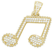 Mens 10k Yellow Gold 3d Iced Music Note Emoji Sign Real Diamond Pendant 3ct 1.4