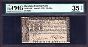 Us 8 36s Maryland Colonial Currency 03/01/1770 Fr Md59 Pmg Vf Net -502