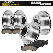For Ford F-350 Dually Front+rear Drill Slot Brake Rotors And Carbon Ceramic Pads