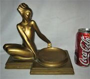 Antique Nuart Nyc Usa Nude Lady Art Deco Bust Ashtray Statue Stand Sculpture Ny