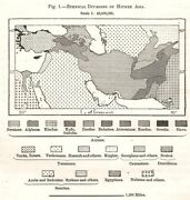 Middle East Ethnic Divisions. South West Asia. Sketch Map 1885 Old Antique