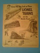 1951 Lionel Electric Trains Model Railroad Worlds Finest Boys Kids Toy Promo Ad