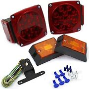 Rear Led Submersible Trailer Tail Lights Kit Boat Marker Truck Round Waterproof