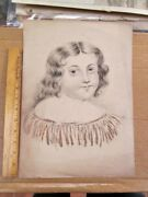 Vintage Pen And Ink Drawing,young Girl,signed,dated 1837,15x 10 3/4