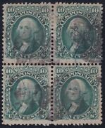 Us 89 10c Washington Used E Grill Block Of 4 F-vf W/ Letter From L.b. Scv 3500