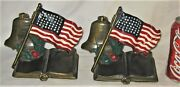 Antique Kando Patriotic American Soldier Usa Country Flag Star Bell Art Bookends