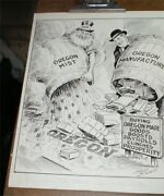 Original Neal Mccall Pen And Ink Political Cartoon 20s Oregon Made In Vtg