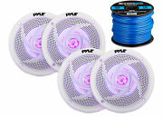 4x Pyle Marine 5.25 2-way Waterproof White Led Speakers 16-g 50 Ft Tinned Wire