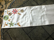 Collectible Beautiful Table Runner Machine Embroidered Crystals Off White 70x13