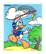Vintage Playskool Wood Tray Puzzle Donald Duck Butterfly Catching 9 Pcs Disney